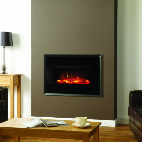 Gazco Riva2 670 Electric Evoke black glass on graphite back