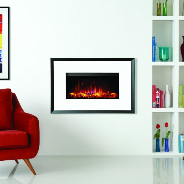 Gazco Riva2 670 Electric Evoke white glass on graphite back