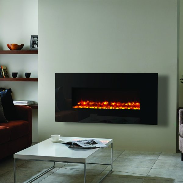 Radiance 100W Black glass_2 with pebble fuel bed