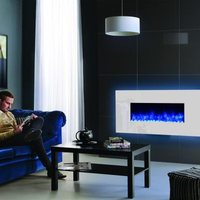 Gazco Radiance 80W White glass with blue glow