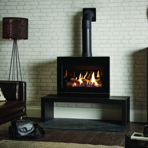gazco riva2 f670-glass-with-black-glass-lining-on-riva-120-high-bench