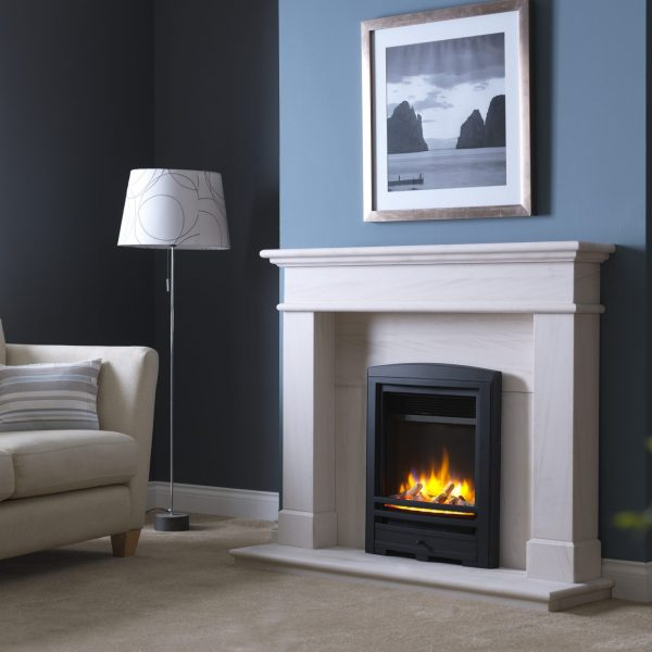 3D Ecoflame Electric Fire with Cast Arch Fascia Black in Balmoral