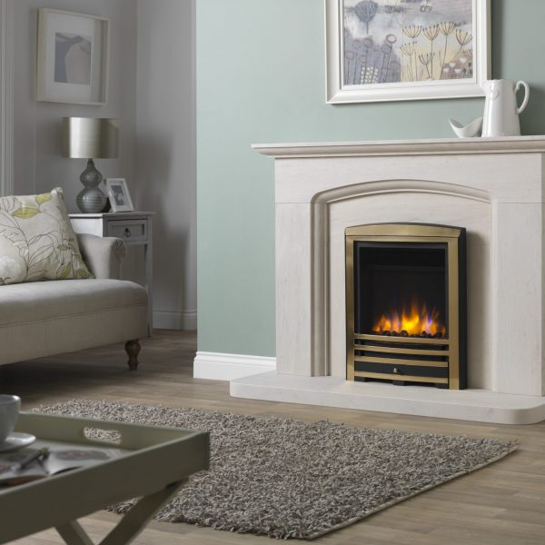 3D Ecoflame Electric Fire with Cast Arch Fascia Brass in Cotswold Arch