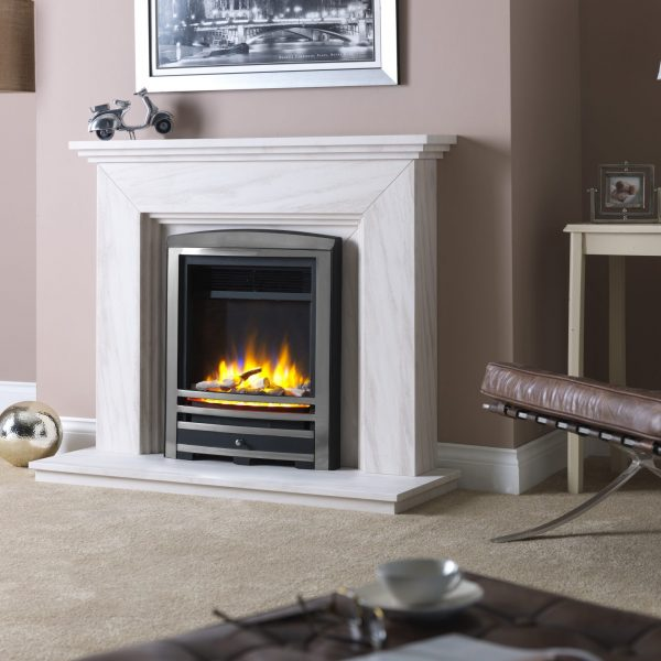 3D Ecoflame Electric Fire with Cast Arch Fascia Chrome in Katia