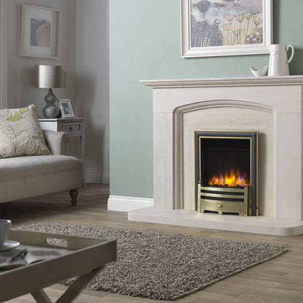 3D Ecoflame Electric Fire with Elite Trim _ Gate Fret Brass in Cotswold Arch