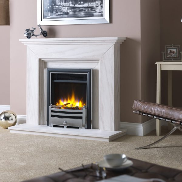 3D Ecoflame Electric Fire with Elite Trim _ Gate Fret Chrome in Katia