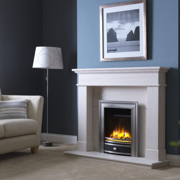 3D Ecoflame Electric Fire with Sq Cast Fascia Pewter in Balmoral