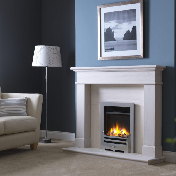3D Ecoflame Electric Fire with Trim _ Gate Fret Chrome in Balmoral